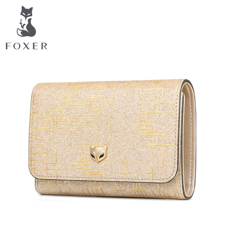 Foxer Female Luxury Money Purse Lady Card Holder Split Leather Lady Money Wallet Women Chic Small Coin Pocket