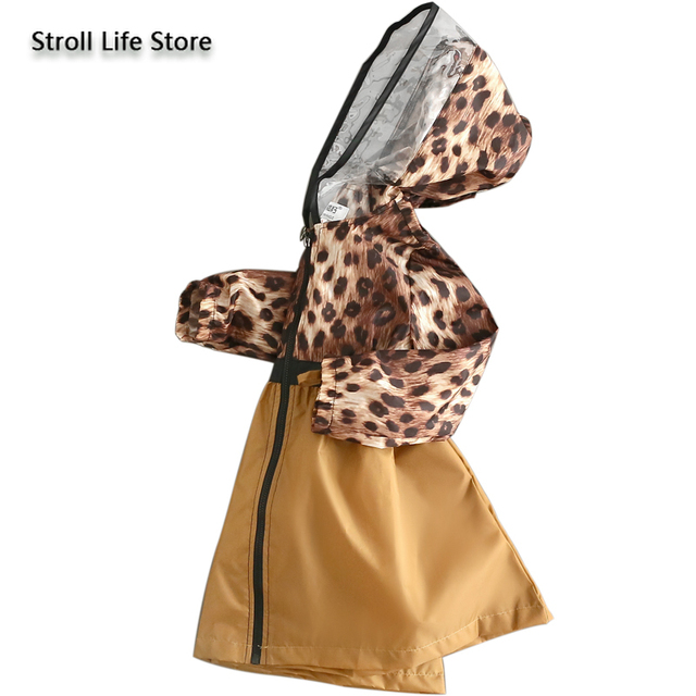 Leopard Print Raincoat Kids Girl's Rain Coat Cover Japanese Children Yellow Long Rain Poncho Jacket Waterproof Suit Gift Ideas