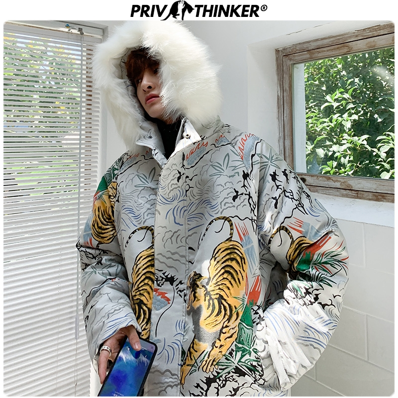 Privathinker Men's Embroidered Jacquard Lamb Fur Jackets   Parkas   Men Fur Collar Thicken Warm Coat Jacket Male 2019 Winter   Parka