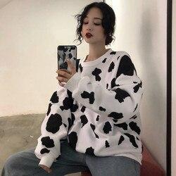 Kawaii, японский стиль, высокая осень, женские свободные толстовки с длинным рукавом, толстовки с принтом коровы, молока, модная женская Повсед...