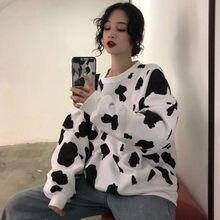 かわいい日本の秋女性ルーズ長袖パーカースウェット牛乳プリントパーカーファッション女性カジュアルトレーナー