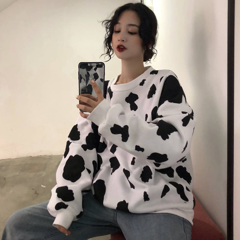 Kawaii Japanese High Autumn Female Loose Long Sleeve Hoodies Sweatshirts Cow Milk Printed Fashion Women Casual Sweatshirt