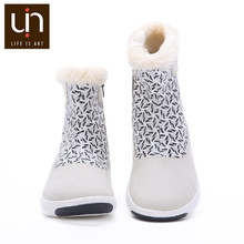 UIN Rotterdam Series Autumn/Winter Boots Women Microfiber Suede Ladies White Fashion Boots Fur Shoes Flats for Outdoor Sports(China)