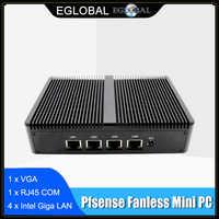 Eglobal-Mini PC sin ventilador Pfsense J1900 Quad Core 4 * Intel WG82583 Gigabit Nics Firewall enrutador de seguridad de red multifunción