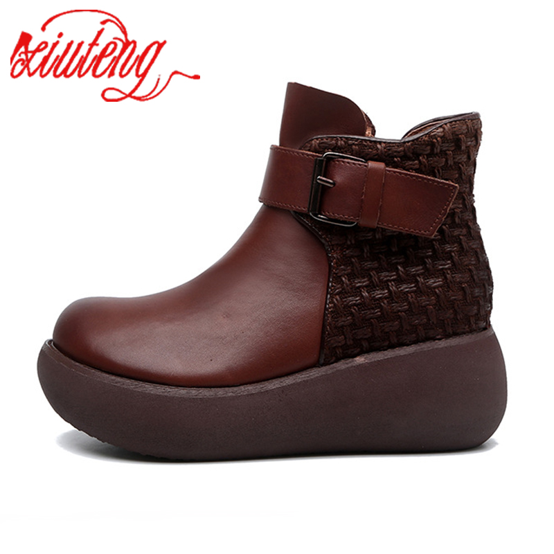 Xiuteng/2020 женские кожаные ботинки наивысшего качества с круглым носком; сезон осень зима; новые ботинки с круглым носком на толстой подошве; женские ботинки из воловьей кожи|Полусапожки|   | АлиЭкспресс