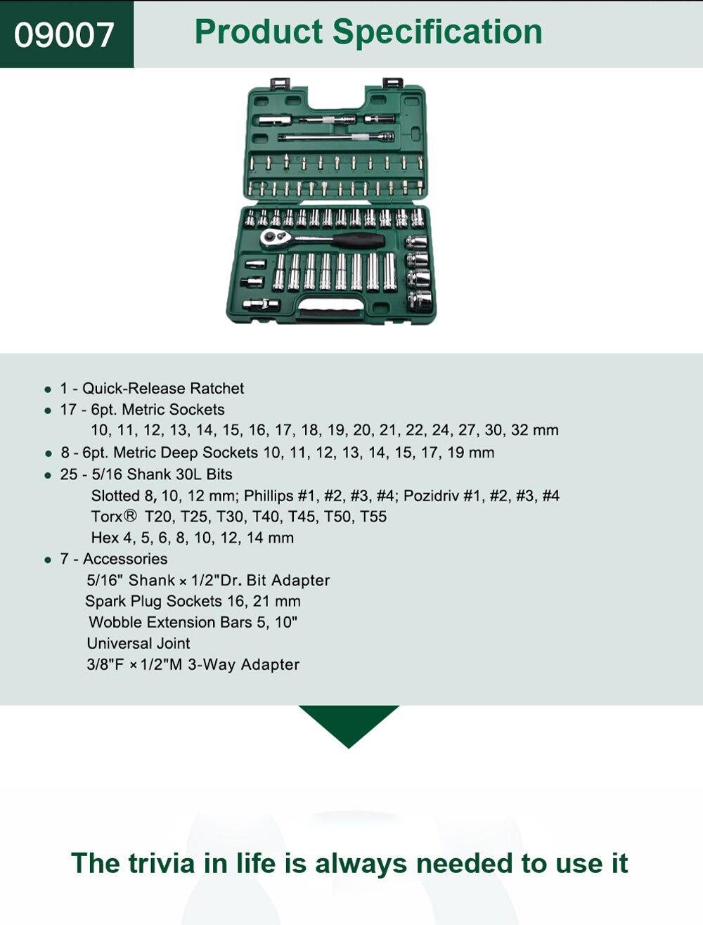 SATA 58pcs 12.5MM Chave Soquete Set Kit