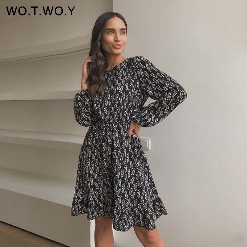 WOTWOY Vintage Floral Print Ruffles Long Dresses Female Summer Lantern Sleeve Elastic Sashes A-Line Dress Woman Knee-Length 2020