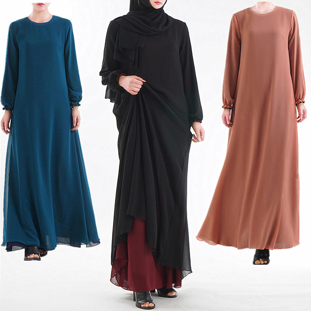 Double Sided Wear Muslim Dress Middle East Ramadan Arab Islamic Clothing Dress Women Skirt Abaya Dubai Kaftan Clothing