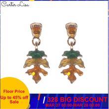 CARTER LISA Gold Color Hollowed Leaf Green Resin Rectangle Drop Earrings for Women Fashion Jewelry  earrings HDEA-047