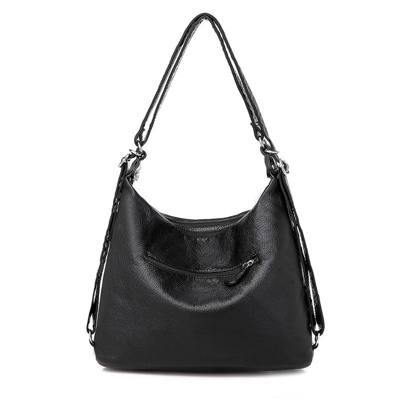 Women's bag large capacity soft PU leather handbag 2020 new trend ladies shoulder messenger bag gray 5