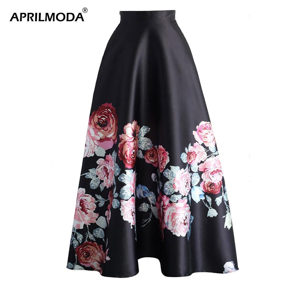 Женская юбка макси с цветочным принтом, высокая талия, Ретро стиль, 50 s, рокабилли, вечерние, элегантные, шикарные, повседневные, женские юбки