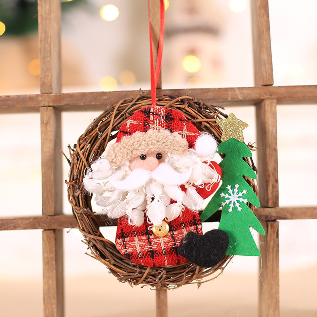 <font><b>C115</b></font> Christmas Wreath Wooden Fabric Doll Christmas Elk Wreath Rattan Door Hanging Trumpet Christmas Tree Decoration Rattan image