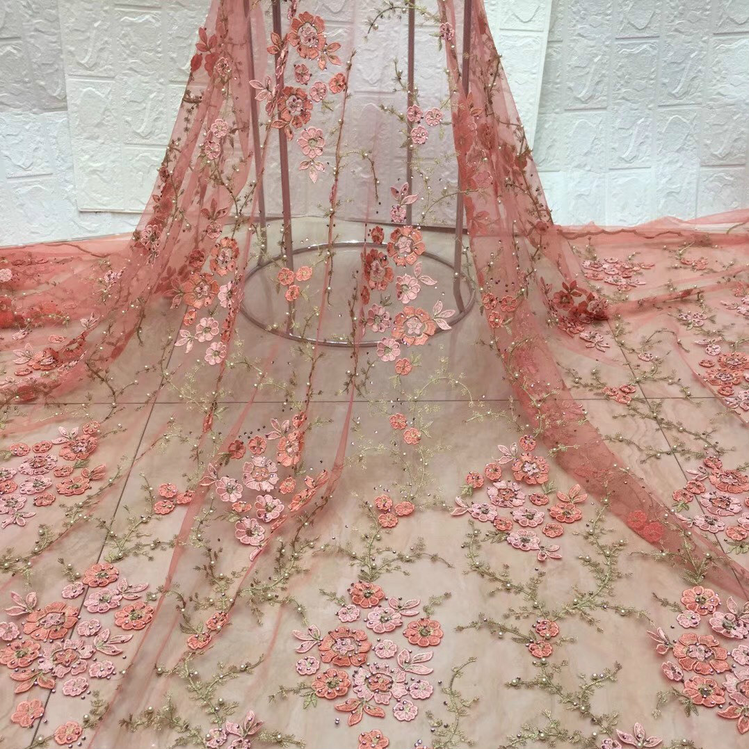 3D Embroidery Lace Fabric Orchid With Beads Mesh Embroidery Fabric Women Apparel Household Lace Fabric Party Dress Decorations