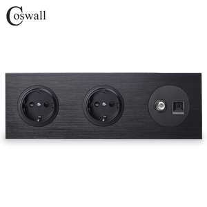 Image 1 - Coswall Black Aluminum Metal Panel Double EU Standard Wall Socket + Female TV Connector With CAT5E RJ45 Computer Jack R12 Series