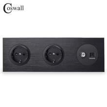 Coswall 블랙 알루미늄 금속 패널 더블 EU 표준 벽 소켓 + 여성 TV 커넥터 CAT5E RJ45 컴퓨터 잭 R12 시리즈