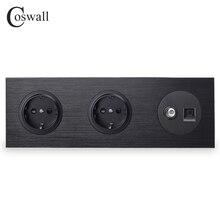Coswall Panel de Metal de aluminio negro, doble enchufe de pared estándar de la UE + conector de TV hembra con conector de ordenador CAT5E RJ45, serie R12