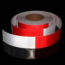 Rot Weiß Moto Aufkleber Adhesive Reflektierende Band Fahrrad Anhänger Motorrad Reflektor Reflektierende Sicherheit Warnung Band 9MX5CM Bänder