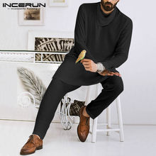 INCERUN Men Irregular Shirt Solid Color Long Sleeve 2020 Streetwear Dubai Tops Vintage Arabic Islamic Muslim Long Style Shirts(China)