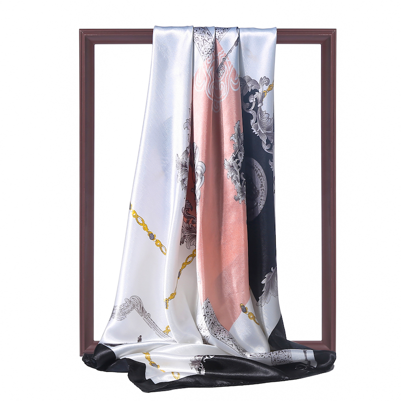 Womne Spring Summer Silk Scarf Square Hijab Wraps Design Print Pashmina Head Scarves Beach Shawls Lady Head Band 2020 New