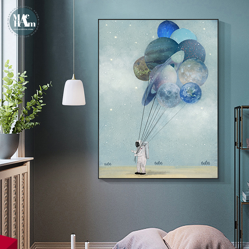 Astronaut Planet Space Balloon Wall Art Canvas Prints Posters Cartoon Animal Bear Wall Pictures For Nursery Kids Decor Nordic