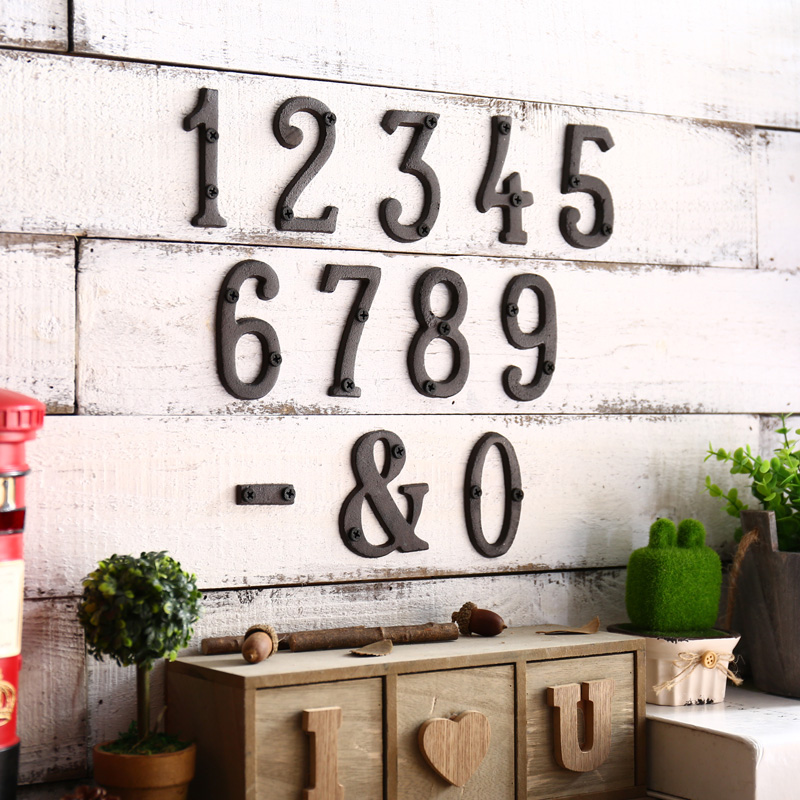 Metal Numbers Cast Iron Decoration House Sign Doorplate Diy Cafe Wall For Hotel Apartment Street Garden Outdoor Decor