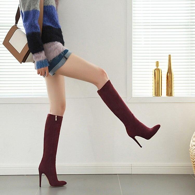 Сапоги в европейском и американском стиле; Сапоги выше колена абрикосового цвета; Сапоги на высоком тонком каблуке с молнией; Размеры 40-46