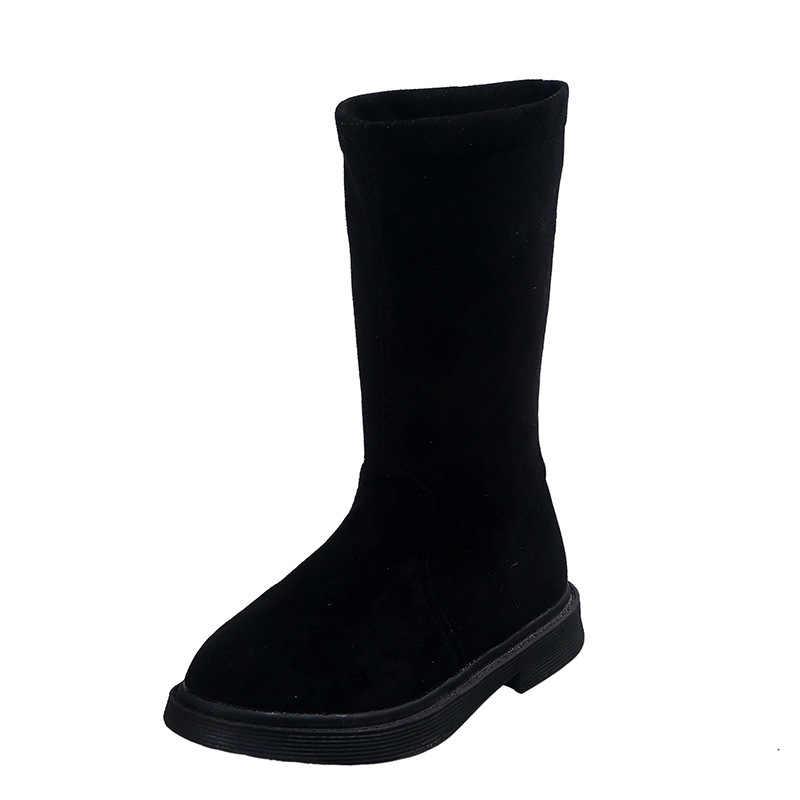 2019 ガールファッションブーツ子供のブーツ女の子靴のための子供足首の雪のブーツサイズ 27 -37 ボタ infantil