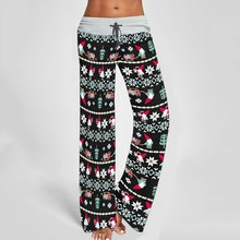 2020 Christmas Loose Sports Pants Women High Waist Large Size Trousers Drawstring Running Fitness High Waist Sweatpants Baggy(China)