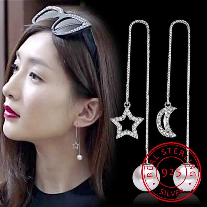 Newest 925 Sterling Silver Tassels Earrings Crystal Zirconia Moon Star Pearl Long Drop Earrings  pendientes S-E253