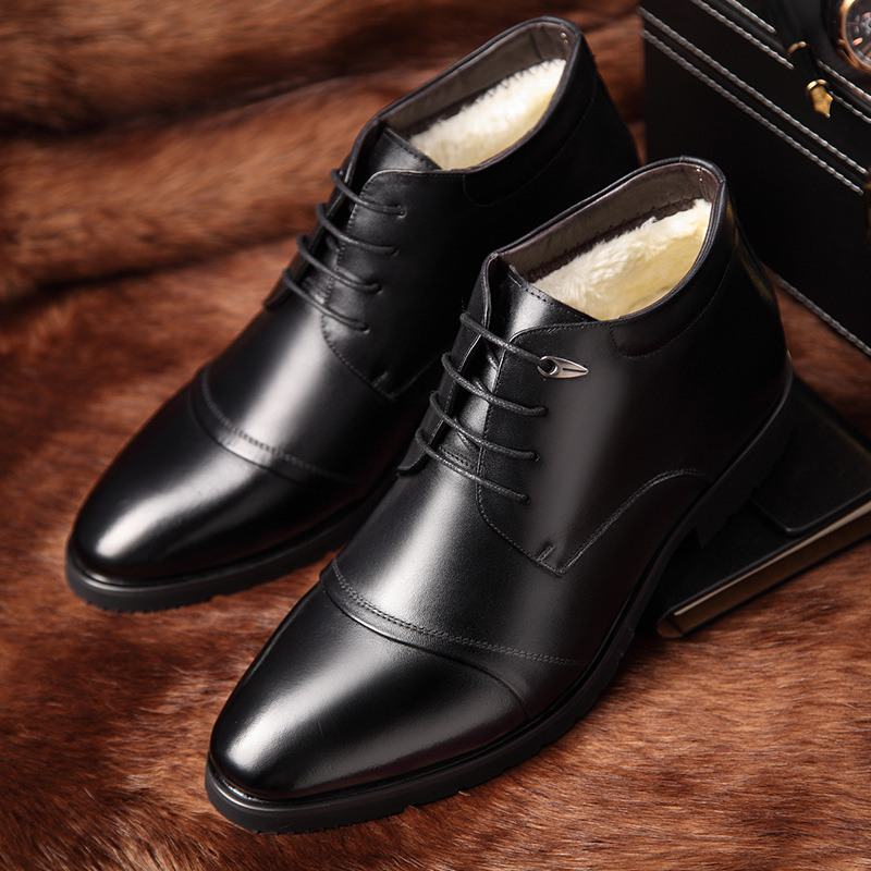 New Handmade Men Leather Winter Boots High Quality Warm Snow Men Boots Ankle Boots For Men Business Dress Shoes Men