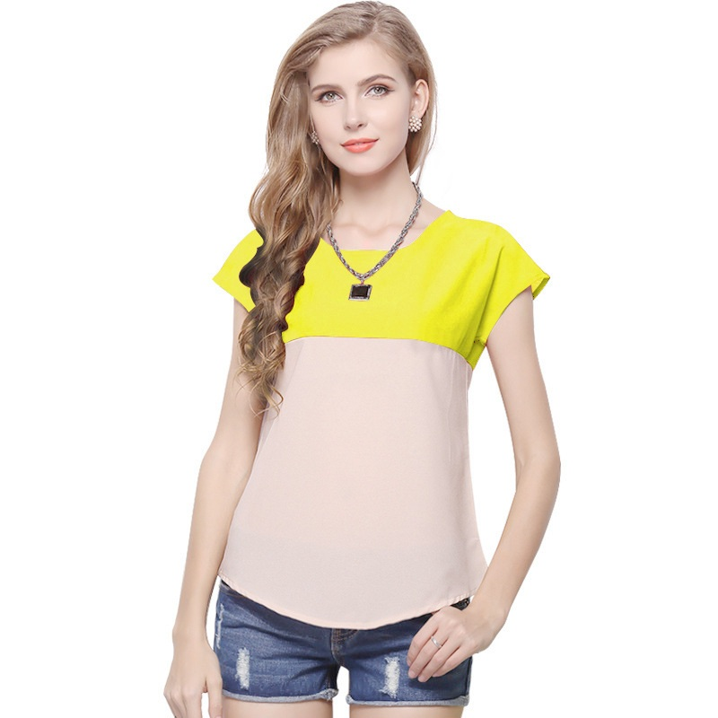 2020 New Summer Style Patchwork Chiffon Women Blouses Cool Short Sleeve Tops Tee