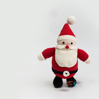 2019 cute 100% hand knitted crochet wool Santa Claus doll child baby best gift toy accessories (finished product)