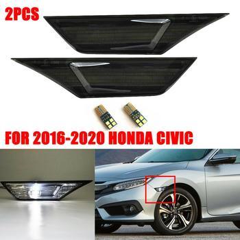 Araba füme LED yan işaretleyici reflektör dönüş sinyal lambası 2016-19 Honda Civic 2 adet yan çamurluk Marker işıkları