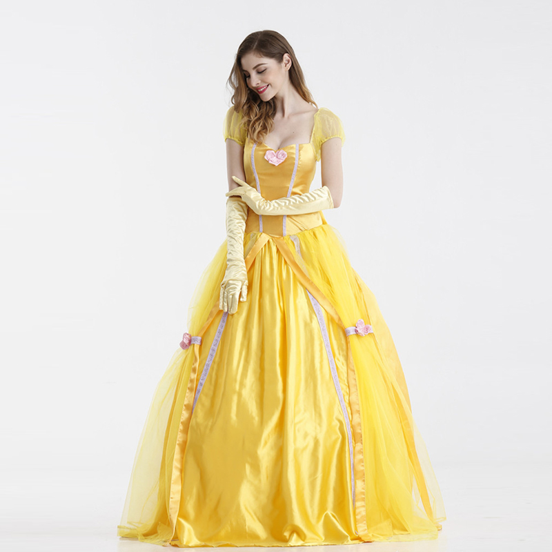 Halloween Costume Princess Bell Dress Adult Beauty and Beast Snow-white Ball
