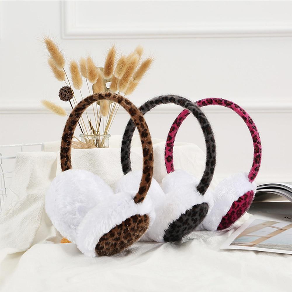 Hot New 1PCS Winter Outdoors Leopard Earmuff Warm Earmuffs For Women Cotton Ear Warmer Fashion Ear Muffs Girls Winter Adult