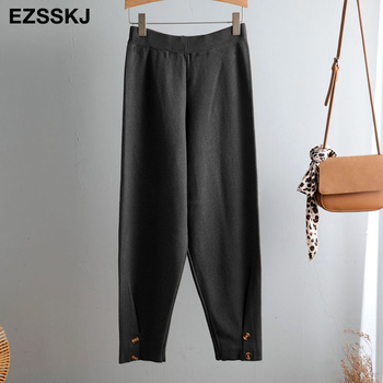 Γυναικείo Πλεκτό παντελόνι για Φθινόπωρο Χειμώνια με κουμπιά