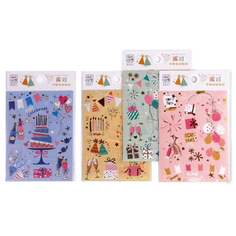4 Sheets/Pack Kawaii Birthday Party Stickers Decorative Hand Account Sticker Album Diary Stick Label Kids Gift