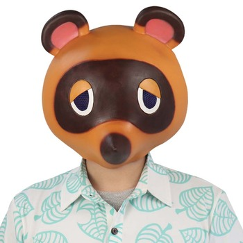 Animal Crossing Tom Nook Mask Cosplay Cute Leopard Cat Latex Masks Helmet Halloween Carnival Masquerade Party Costume Props 1pc 3d mask halloween carnival party props full face masks masquerade cosplay props diy horror funny latex mask new 2018