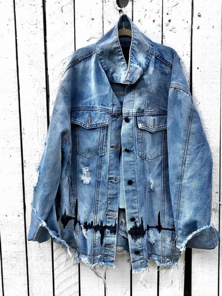Джинсовые куртки для женщин с длинным рукавом дизайнерская джинсовая куртка эстетическое уличная принт осень, одежда для девочек, Свободно...