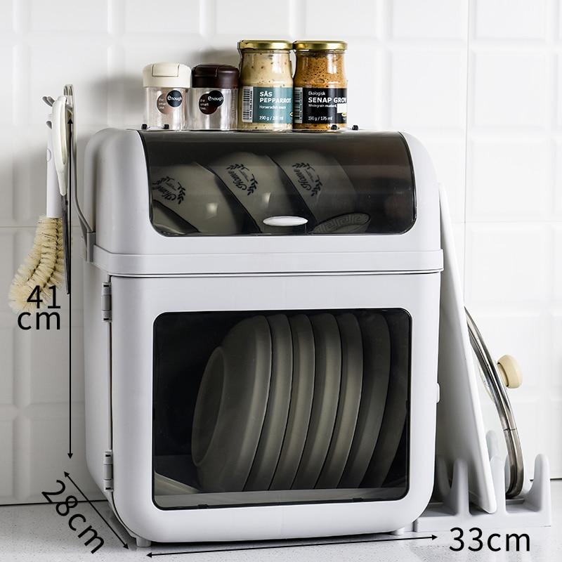 Dish Storage Rack Large Capacity Tableware Chopsticks  Drainage Holder Kitchen Drying Storage Box with Cover Multifunction