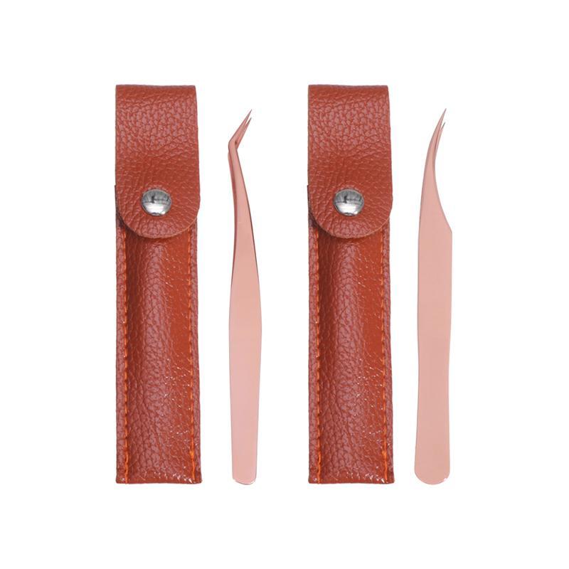 2pcs Eyelashes Tweezers Set Stainless Steel Precision Tweezers Lash Tweezers for Eyelash Extension (Rose Gold)