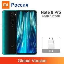 Versão global xiaomi redmi nota 8 pro 6 gb 128 gb/64 gb 64mp quatro câmera smartphone nfc 4500 mah helio g90t octa núcleo celular