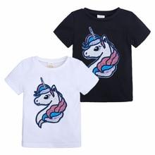 Летняя детская футболка для девочек, рубашки для девочек с блестками и изображением единорога, детские топы, футболки для девочек, одежда