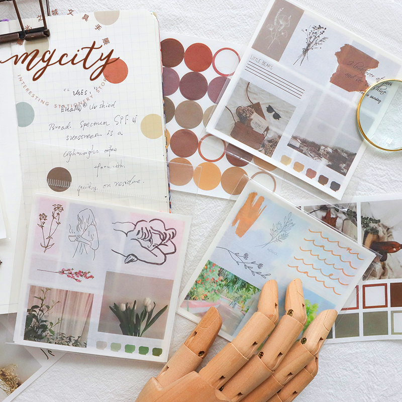 4sheets/pack Ins Style Collage Simple Journal Decorative Stickers Scrapbooking Stick Label Diary Stationery Album Round Stickers
