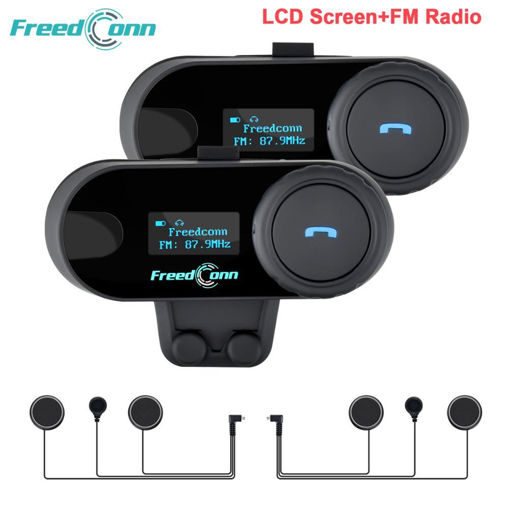 Ru Stock,2pcs FreedConn Motorcycle Helmet Intercom TCOM-SC Motocycle Bluetooth Interphone Headset LCD Screen FM Radio T-COM SC