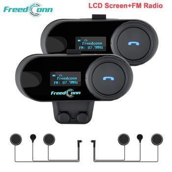 Ru Stock,FreedConn Motorcycle Helmet Intercom TCOM-SC Motocycle Bluetooth Interphone Headset LCD Screen FM Radio T-COM SC