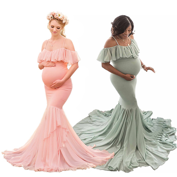 Flat shoulder Maternity Dresses For Photo Shoot Maternity Photography Props Pregnancy Dress Photography Maxi Dress Gown Pregnant s m l xl maternity dress for photo shoot maxi maternity gown split front maternity chiffon gown sexy maternity photography props