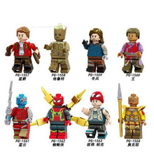 PG8130 8PCS Set Building Blocks Super Heroes Infinity War Spider-Man Star-Lord Wong Collection Figures Children Gift Toys DIY