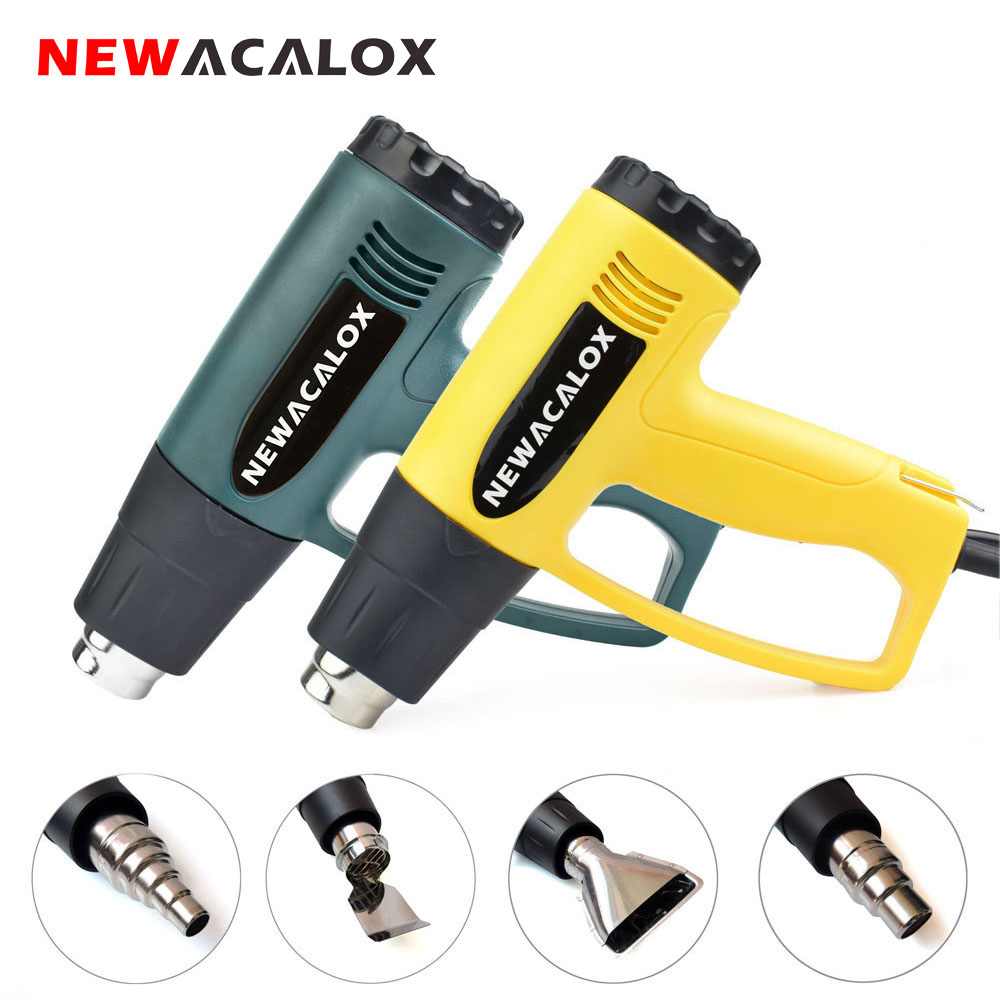 NEWACALOX 2000 Watt 220 V UE Plug Industriel Électrique Pistolet À Air Chaud Thermorégulateur Pistolets Thermiques Rétractable Emballage Thermique Chauffage Buse