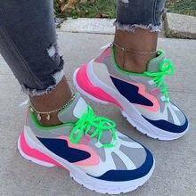 Женские туфли больших размеров повседневная сетчатая обувь на
